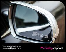AUDI RS5 LOGO MIRROR DECALS STICKERS GRAPHICS x3 IN SILVER ETCH