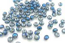 Jewelry Faceted 100 pcs Plating AB Blue #5040 3x4mm Roundelle Crystal Beads  B23