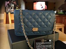 NWT 2017CHANEL Blue CAVIAR BOY WALLET ON CHAIN WOC With GOLD HW