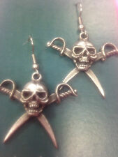 EARINGS PIRATES SKULLS SWORDS NOVELTY SET OF PEWTER HAND CRAFTED UK FINISH NEW