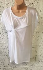 NEW ZARA BASIC WHITE ROUCHED TSHIRT TOP TEE SMALL UK 6/8/ Z369