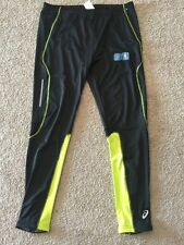 ASICS Men's Lime Green reflective, 4 stretch running tight, NEw Black- L