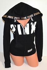 Victorias Secret PINK Perfect Full Zip Hoodie Sweatshirt Black Bling Logo XS NIP
