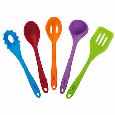 VonShef Cooking Utensil Set 5 Piece Silicone Kitchen Cookware Pack Multi Colour
