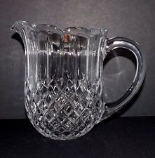 LOVELY LEAD CRYSTAL WATER PITCHER WAFFLE DIAMOND RIBBED SCALLOPED EDGE