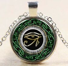Egyptian Eye of Horus Ra Udjat Glass Art Pendant Chain Amulet Pagan Necklace 276