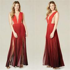 BEBE RED OMBRE PLEATED DOUBLE SLIT MAXI GOWN DRESS NEW NWT $179 XXSMALL XXS 0