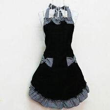 Beautiful Gingham Butterfly Bow Two Pocket Adjust Apron Black
