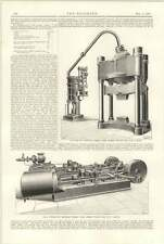 1898 3 Thousand Ton Hydraulic Forging Press Engines Southgate