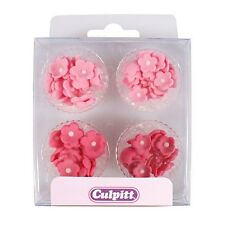 Culpitt 100pk MINI FLOWERS Pink Edible Cupcake Sugar Pipings Decorations Toppers