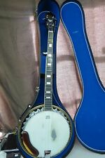 VINTAGE BANJO WITH EAGLE ON BACK ALONG WITH NICE CASE