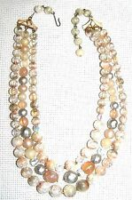 VINTAGE CLASSIC 3 STRAND LUCITE NECKLACE WITH J HOOK CLOSURE ~SIGNED: KARU ARKE