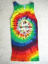 PABST BLUE RIBBON BEER TIE DYE TEE T-SHIRT TANK TOP SMALL S FUN & COOL! NEW!