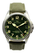 Seagull D813.581 Oversized Army Watch Green Dial Green Fabric Band Luminous