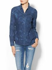 AG Adriano Goldschmied M Dark Windswept Floral Chambray Denim Shirt Top Medium