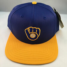 MILWAUKEE BREWERS BLUE/GOLD RETRO VINTAGE LOGO SNAPBACK CAP BY AMERICAN NEEDLE