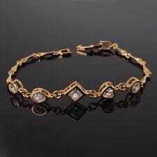 24k Yellow Gold Filled Fine Swarovski Wedding Jewlery Women Lady Chain Bracelet