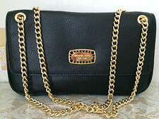 NWT Michael Kors Jet set jewelry black Leather flap Chain Tote Purse Bag $228