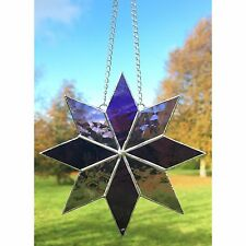 Handmade Stained Glass Purple Star Suncatcher, Glass Gift Decoration