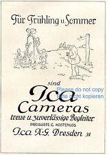 Ica Kamera Dresden Reklame von 1925 Werbung Fotograf Kinder Brunnen spielen +