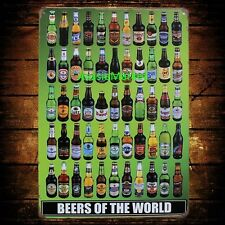 1 x metal tin sign man cave beer of the world bottle hotel bar decor fathers day