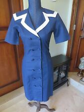 Women's Vintage Laura Ashley  Dress Double Breasted  Navy Blue Dress Mint SZ 2-4