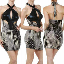 Dress Halter Mini Leather Wet Look Animal Studded Keyhole Club Revealing S