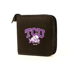 TCU Horned Frogs Neoprene Blk/ Purple CD/DVD CASE HOLDS 24 CDs NCAA New!