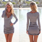 Sexy Women Summer Striped Bodycon Bandage Slim Evening Party Cocktail Mini Dress
