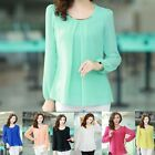 New Casual Women Chiffon Long Sleeve Crew neck Blouse T-shirt Top Pullover Shirt