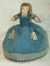 "Vintage Topsy Turvey Cloth Doll 9.5"" old blue dress awake and sleeping"
