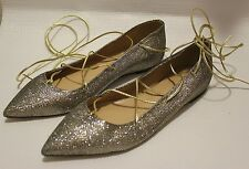 NEW J.CREW GLITTER LACE-UP FLATS 9.5  METALLIC GOLD SILVER #E0762 Shoes