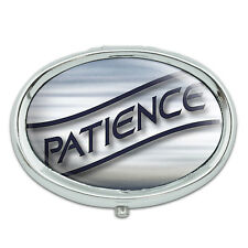 Patience Blue Waves Clouds Metal Oval Pill Case Box