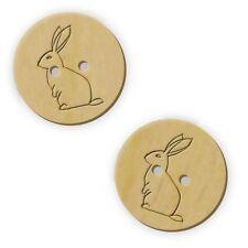 12 x 23mm 'Rabbit' Round Wooden Buttons (BT00016510)