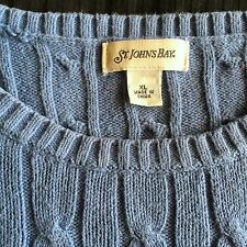 """VINTAGE ST JOHNS BAY CLASSIC  BLUE CABLED COTTON SWEATER/JUMPER 48""""  XL"""
