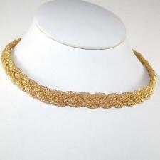 "Heavy 18K Yellow Gold Mesh Braided Woven Chain Link Necklace 16"" 10mm QZ"