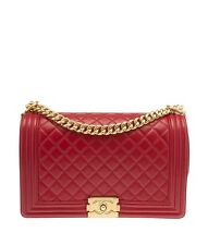Chanel Boy Red Quilted Leather Shoulder Bag