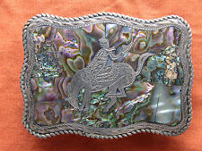Vtg Sterling Silver Cowboy Horse Rodeo Abalone Inlay Western Belt Buckle