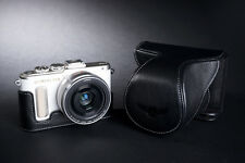 Genuine Real Leather Full Camera Case Bag Cover for Olympus E-PL8 EPL8 Black