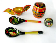 Vntg RUSSIAN KHOKHLOMA HandPainted Lacquer MISC Lot: Bird Bowl Jars w/lid Spoons