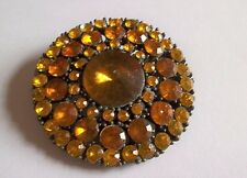 VINTAGE 1980S GOLD TONE 2 SHDES AMBER COLOURED BEAD FLOWER BROOCH