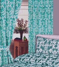 """66"""" x 72"""" JADE GREEN DAMASK FLORAL WHITE PENCIL PLEAT CURTAINS POLY COTTON"""