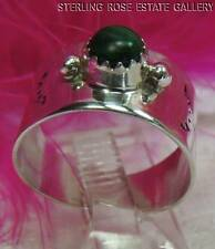 VINTAGE MALACHITE Hand Crafted Sterling Silver 0.925 Estate Cocktail size 6