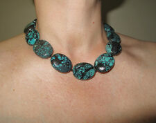 "Turquoise Real Oval Big Nuggets Stone Chunky Necklace 18.25"" 46 cm silver clasp"