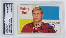 BOBBY HULL SIGNED 1960 TOPPS HOCKEY CARD PSA/DNA AUTHENTICATED #58 BLACKHAWKS