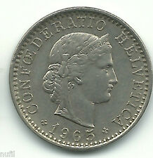 Suiza Switzerland 20 Rappen, 1965 KM# 29