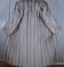 "Maximilian Bloomingdale's 50"" Long Blue White Fox Fur Coat Size 8-10 Free Shippi"