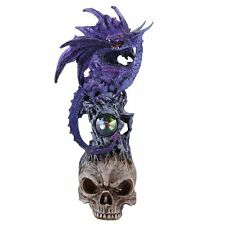 Mystical Purple Dragon Perched On Skull Head Crystal Rhinestone Rock Statue