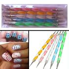 5 X Nail Art Dotting Pen Marbleizing Tools Set Manicure Painting Kit 2-Way - UK