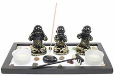 Zen Garden Buddha Monks No Evils Rock Rake Candle Incense Burner Home Decor